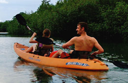 FREE Kayaks at Cabinas Jimenez so you can go and explore the mangroves
